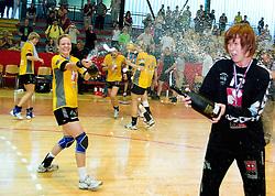 Spela Cerar and Sergeja Stefanisin with a champaign at the Final handball game of the Slovenian Women handball Championship between RK Krim Mercator and RK Olimpija when Krim Mercator won the Championship and became Slovenian National Champion, on May 23, 2009, Kodeljevo, Ljubljana, Slovenia.  (Photo by Klemen Kek / Sportida)