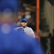 NEW YORK, NEW YORK - June 30: Pitcher John Lackey #41 of the Chicago Cubs looks on as manager Joe Maddon #70 of the Chicago Cubs heads out to the mound to pull him from the game during the Chicago Cubs Vs New York Mets regular season MLB game at Citi Field on June 30, 2016 in New York City. (Photo by Tim Clayton/Corbis via Getty Images)