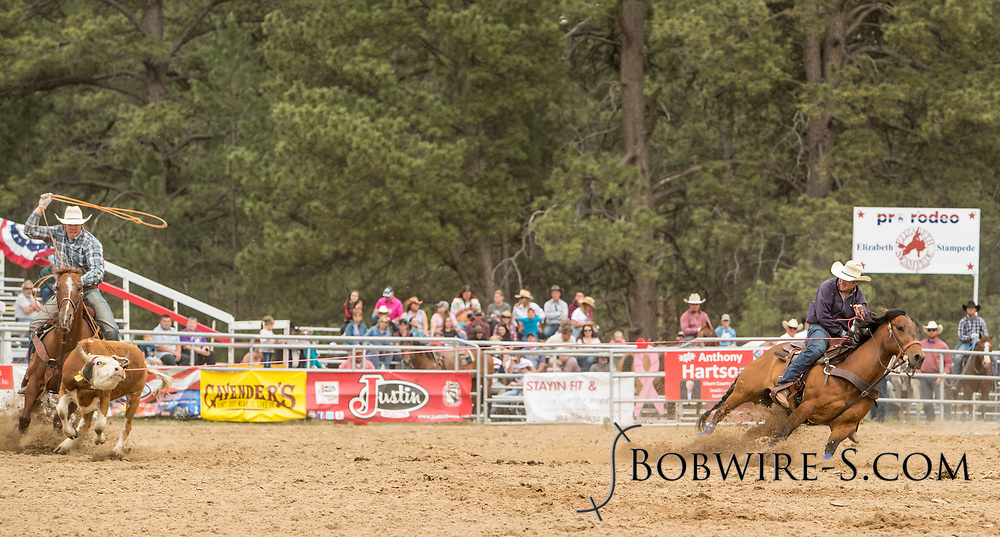 Header Travis Bounds and heeler Kyon Kreutzer make their team roping run during the third performance of the Elizabeth Stampede on Sunday, June 3, 2018.