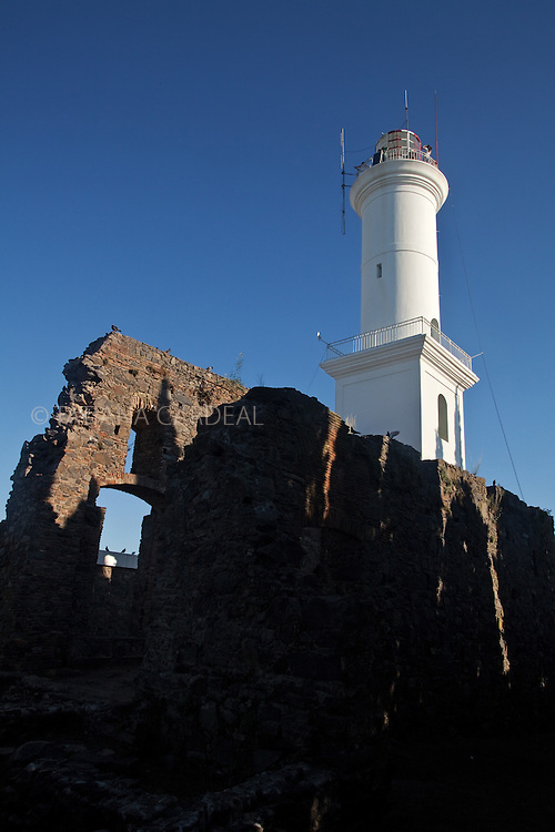 Lighthouse and convent ruins of the 17th century Convent of San Francisco