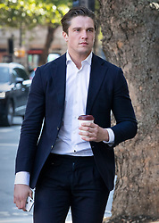 © Licensed to London News Pictures. 22/08/2019. London, UK. TOWIE star Lewis Bloor arrives at Westminster Magistrates Court. The Only Way Is Essex reality TV star is appearing in court over claims he and five other defendants attempted to defraud investors in an alleged coloured diamond scam. Photo credit: Peter Macdiarmid/LNP