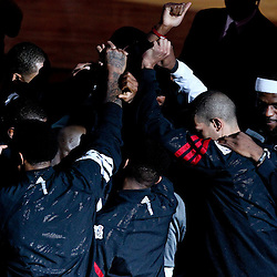 Jun 21, 2012; Miami, FL, USA; Miami Heat small forward LeBron James (far right) huddles with teammates prior to tip off of game five in the 2012 NBA Finals at the American Airlines Arena. Mandatory Credit: Derick E. Hingle-US PRESSWIRE