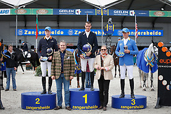 Podium Sires of the World<br /> 1. Gregory Wathelet (BEL)<br /> 2 Tim Rieskamp Goedeking (GER)<br /> 3. Christian Ahlmann (GER)<br /> Prizes given by Mrs Judy An Mechlior<br /> FEI Zangersheide Sires of the World - Lanaken 2013<br /> © Dirk Caremans