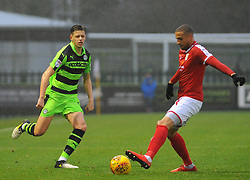 Jack Fitzwater of Forest Green Rovers competes with Jordan Bowery of Crewe Alexandra-Mandatory by-line: Nizaam Jones/JMP - 18/11/2017 - FOOTBALL - New Lawn Stadium - Nailsworth, England - Forest Green Rovers v Crewe Alexandre-Sky Bet League Two