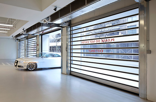 Image of the Rytec door at the Audi Terminal dealership in New York City. & Image of the Rytec door at the Audi Terminal dealership in New York ...