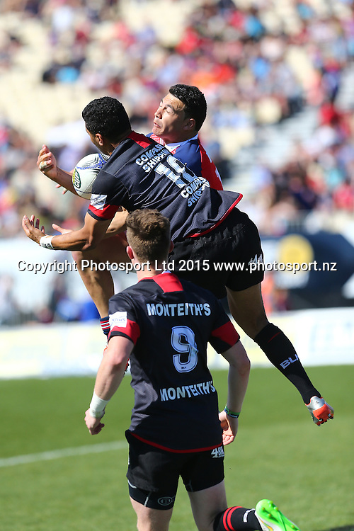 Canterbury player Ritchie Mounga and Tasman's David Havili go up for the high ball during their ITM Cup game Tasman v Canterbury. Trafalgar Park, Nelson, New Zealand. Saturday 3rd October 2015. Copyright Photo: Evan Barnes/ www.photosport.nz