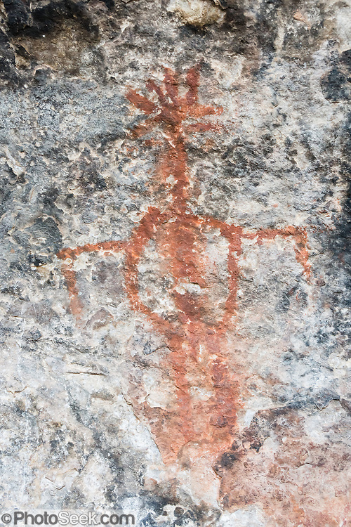 Prehistoric pictograph,<br /> Cave Spring Trail, Needles District of Canyonlands National Park, Utah, USA.