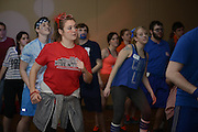 Zaya Gillogy concentrates on her dances moves at the twelve hour dance-a-thon. Participants could not sit down without loosing points for their team! Photo by Olivia Wallace