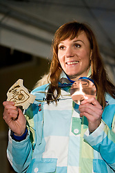 Slovenian bronze medalist cross-country skier Petra Majdic at reception at her home town Dol pri Ljubljani after she came from Vancouver after Winter Olympic games 2010, on March 1, 2010 in Dol pri Ljubljani, Slovenia. (Photo by Vid Ponikvar / Sportida)