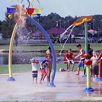 Hundreds of kids enjoyed the splash pad at Veterans park Saturday for the back to school event
