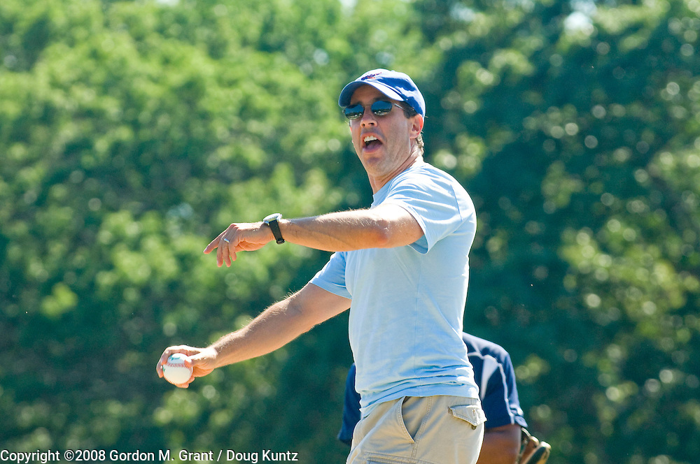 Sag Harbor, NY - 8/3/08 -    Comedian Jerry Seinfeld throws out the first pitch at the start of the Atlantic Collegiate Baseball League playoff game with the Hampton Whalers and the Peekskill Robins at Mashashimuet Park in Sag Harbor, NY August 3, 2008.     (Photo by Gordon M. Grant / Doug Kuntz)
