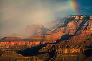 A rainbow descends into the Grand Canyon. As viewed from Lipan Point on the South Rim of Grand Canyon National Park.