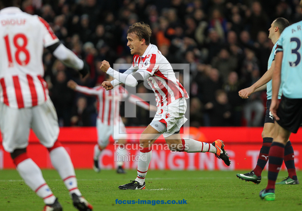 Marc Muniesa of Stoke City celebrates after scoring the second goal against Burnley during the Premier League match at the Bet 365 Stadium, Stoke-on-Trent.<br /> Picture by Michael Sedgwick/Focus Images Ltd +44 7900 363072<br /> 03/12/2016