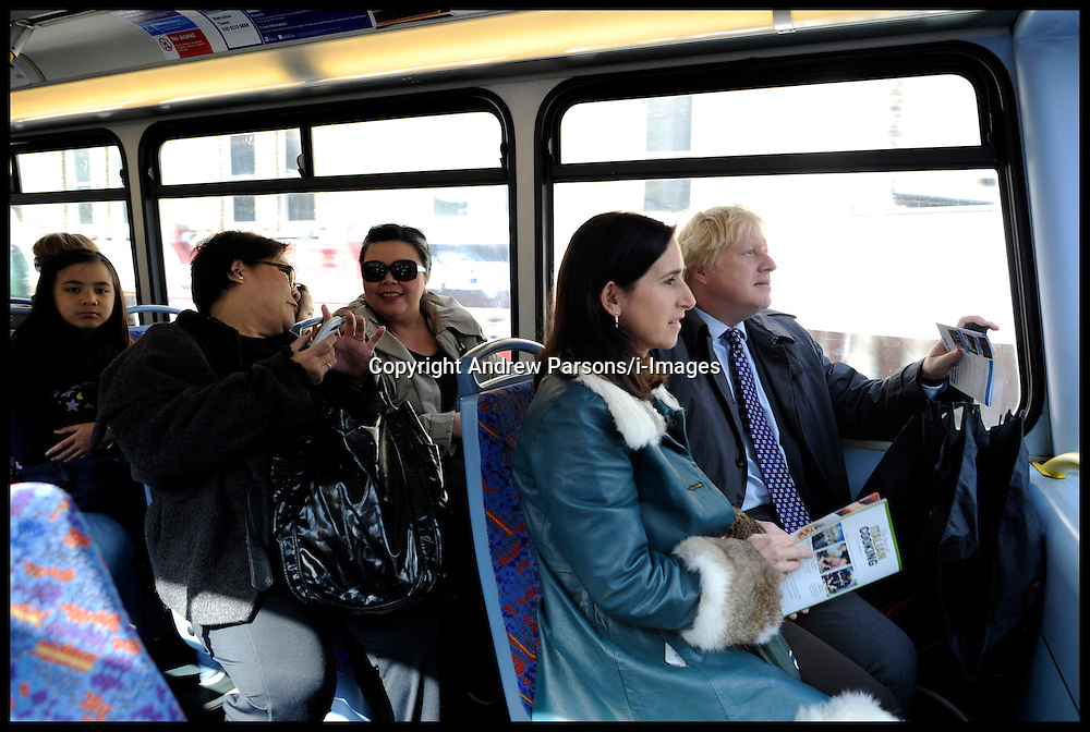 London Mayor Boris Johnson on the bus with his wife Marina Johnson on the final week of his Mayoral Campaign, London, UK, April 21, 2012. Photo By Andrew Parsons / i-Images.