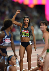 Nafissatou Thiam of Belgium celebrates victory - Mandatory byline: Patrick Khachfe/JMP - 07966 386802 - 06/08/2017 - ATHLETICS - London Stadium - London, England - 800m Heptathlon - IAAF World Championships