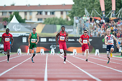 SINGLETON Jerome, FOURIE Arnu, BROWNE Richard, WALLACE Jarryd, PEACOCK Jonnie, USA, RSA, GBR, 100m, T44, 2013 IPC Athletics World Championships, Lyon, France