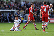 Swansea city's Pablo Hernandez reacts after he shoots wide of goal.  Barclays Premier league match, Swansea city v Southampton at the Liberty stadium in Swansea, South Wales on Saturday 3rd May 2014.<br /> pic by Andrew Orchard, Andrew Orchard sports photography.