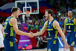 Luka Doncic of Slovenia, Goran Dragic of Slovenia and Anthony Randolph of Slovenia during basketball match between National Teams of Slovenia and Spain at Day 15 in Semifinal of the FIBA EuroBasket 2017 at Sinan Erdem Dome in Istanbul, Turkey on September 14, 2017. Photo by Vid Ponikvar / Sportida