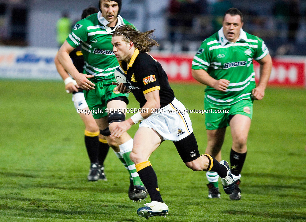 Welllington's Cory Jane makes a break during the Air New Zealand Cup week 6 rugby match between Manawatu and Wellington at FMG Stadium, Palmerston North, on Saturday 2 September 2006. Wellington won 11-3.  Photo: Aaron Smale/PHOTOSPORT<br /> <br /> <br /> 020906 npc nz union