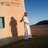 Yousef al Muteiri, 22-years-old, outside his grandfather's house 6km from the village of Najkh, Saudi Arabia. March 2008.