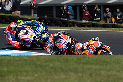 October 28, 2018 - Phillip Island, VIC, U.S. - PHILLIP ISLAND, VIC - OCTOBER 28: Repsol Honda Team rider Marc Marquez (93)  leads the race ahead of Ducati Team rider Andrea Dovizioso (4) at The 2018 Australian MotoGP on October 28, 2018, at The Phillip Island Circuit in Victoria, Australia. (Photo by Speed Media/Icon Sportswire) (Credit Image: © Steven Markham/Icon SMI via ZUMA Press)