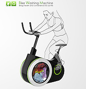 """Bike Doubles as Washing Machine to Clean Your Clothes as You Exercise<br /> <br /> For anyone that loathes laundry but loves biking, the design students at Dalian Nationalities University in China have a compromise to make the chore more enjoyable. Their creation, aptly-called the Bike Washing Machine (or BiWa for short), combines the two activities into one stationary device. A washing machine drum is ingeniously integrated into the wheel of a bike that cleans your clothes as you pedal.<br /> <br /> According to the students who created BiWa, the way it works is simple. """"When you ride this bike, the pedaling motion causes the drum of the washing machine to rotate,"""" they write on Tuvie. At the same time, the extra electricity generated can be used to power the display screen or stored for future rides.<br /> ©Exclusivepix Media"""