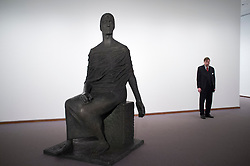 Modern art sculpture at Neue Nationalgalerie or New National Gallery in berlin Germany