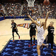 Saniya Chong, UConn, drives to the basket during the UConn Vs Cincinnati Quarterfinal Basketball game at the American Women's College Basketball Championships 2015 at Mohegan Sun Arena, Uncasville, Connecticut, USA. 7th March 2015. Photo Tim Clayton