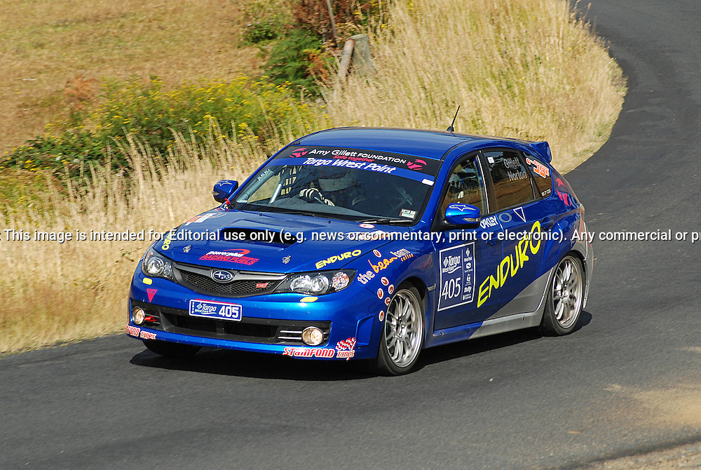 405 Simon Gillett & Kathy Norton.2008 Subaru STi.Day 2.Targa Wrest Point 2010.Southern Tasmania.31st of January 2010.(C) Sarah Biggin.Use information: This image is intended for Editorial use only (e.g. news or commentary, print or electronic). Any commercial or promotional use requires additional clearance.