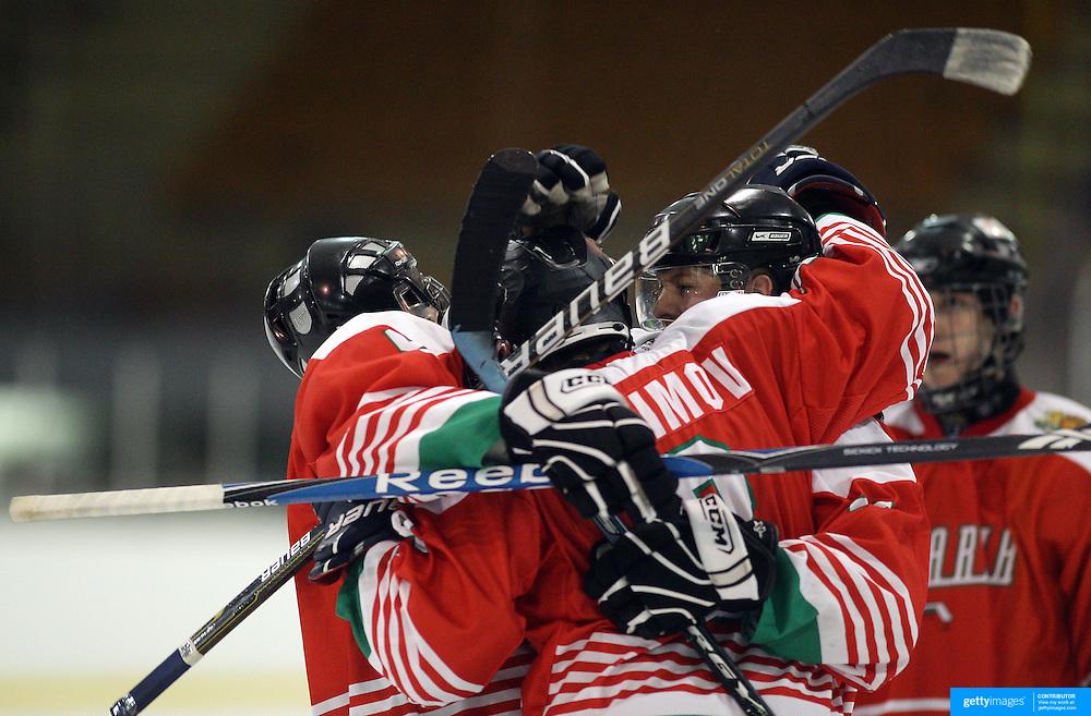 Bulgaria celebrate a goal during the Turkey V Bulgaria match during the 2012 IIHF Ice Hockey World Championships Division 3 held at Dunedin Ice Stadium. Dunedin, Otago, New Zealand. 21st January 2012. Photo Tim Clayton