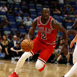 Oct 3, 2017; New Orleans, LA, USA; Chicago Bulls guard Jerian Grant (2) against the New Orleans Pelicans during the second quarter of a NBA preseason game at the Smoothie King Center. Mandatory Credit: Derick E. Hingle-USA TODAY Sports