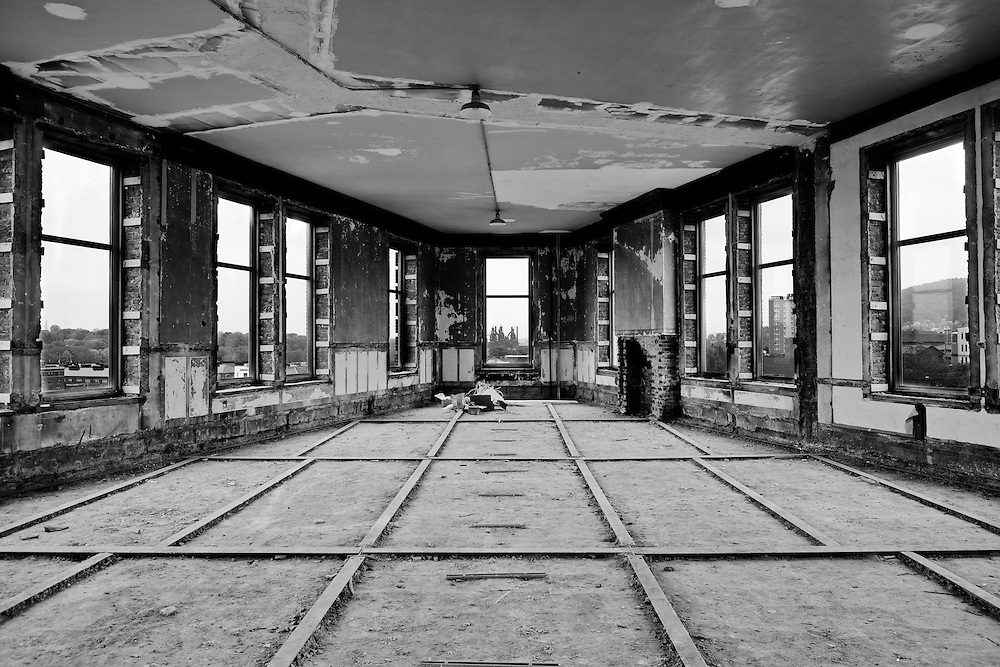 Unfinished top floor of the Flatiron building.  The center window aims squarely at the Bethlehem Steel furnaces.