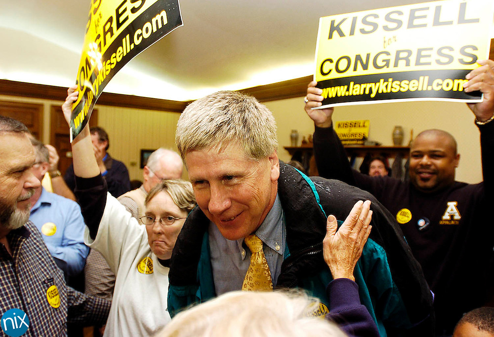 Larry Kissell congratulated by supporters after he was elected to the N.C. 8th District seat in the U.S. House of Representatives, unseating incumbent Robin Hayes Tuesday, Nov. 4, 2008.. Kissell's held a results viewing party at J.F.'s Kitchen in Biscoe.