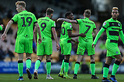 Forest Green Rovers Reece Brown(10) scores a goal 0-1 and celebrates during the EFL Sky Bet League 2 match between Port Vale and Forest Green Rovers at Vale Park, Burslem, England on 23 March 2019.