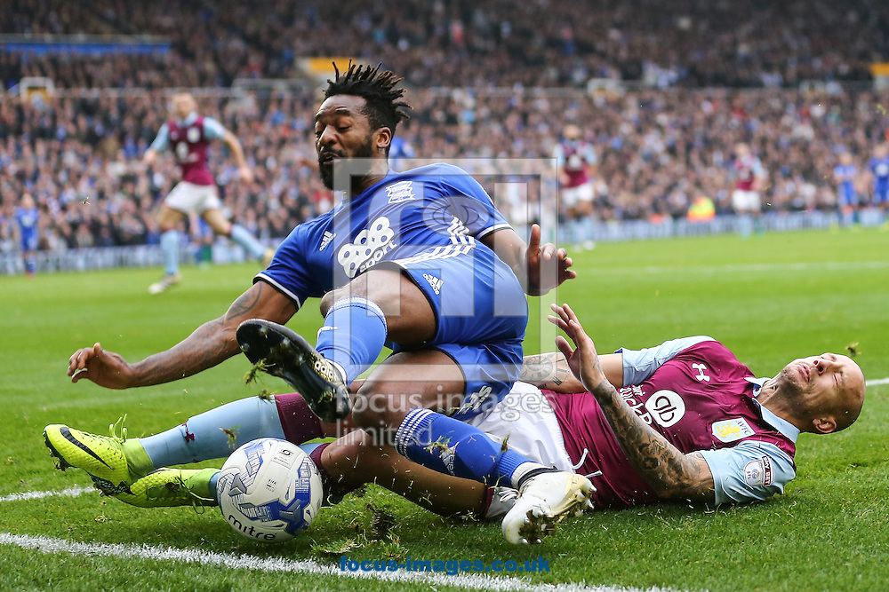 Alan Hutton of Aston Villa (right) competing with Jacques Maghoma of Birmingham City (left) during the Sky Bet Championship match at St Andrews, Birmingham<br /> Picture by Andy Kearns/Focus Images Ltd 0781 864 4264<br /> 30/10/2016