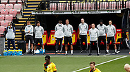 The Leicester City bench take part in a minutes silence for those that have lost their lives in the Covid19 Pandemic  during the Premier League match at Vicarage Road, Watford. Picture date: 20th June 2020. Picture credit should read: Darren Staples/Sportimage