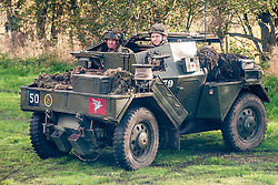 Reenactors portraying the 6th Airorne Division, in a  Daimler Scout Car &quot;Dingo&quot; at the Pickering Showground Day 2<br />