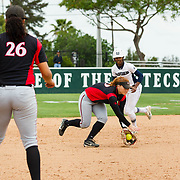 12 May 2018: San Diego State shortstop Shelby Thompson fields a ground ball and makes the throw for an out to end the inning with runners in scoring position. San Diego State women's softball closed out the season against Utah State with a 4-3 win on seniors day and sweep the series. <br /> More game action at sdsuaztecphotos.com