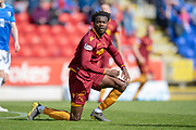 Gboly Ariyibi (#12) of Motherwell FC gets back to his feet during the Ladbrokes Scottish Premiership match between St Johnstone and Motherwell at McDiarmid Stadium, Perth, Scotland on 11 May 2019.