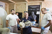 POMPEII, ITALY - 29 SEPTEMBER 2015: A worker places the cast of a victim (a child of approximately 4 years old) of the 79 AD Mount Vesuvius eruption on a CAT scanner that has been set up to scan approximately 86 casts that were restored in the archeological site of Pompeii, Italy, on September 29th 2015.<br /> <br /> Pompeii, along with Herculaneum, was buried under 4 to 6 meters (13 to 20 ft) of ash and pumice in the eruption of Mount Vesuvius in 79 AD. After its initial discovery in 1599, Pompeii was rediscovered as the result of intentional excavations in 1748 by the Spanish military engineer Rocque Joaquin de Alcubierre.<br /> <br /> Pompeii is an UNESCO World Heritage Site and one of the most popular tourist attractions of Italy, with approximately 2.5 million visitors every year.
