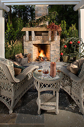 fireplace. Deck patio Verandah Porch