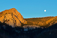 Sergeant Mountain in the Bob Marshall Wilderness and a full moon setting at sunrise. From my 2013 Artist-in-Wilderness Connection program residency run by the Flathead National Forest, Hockaday Museum of Art, Bob Marshall Wilderness Foundation and the Swan Ecosystem Center. Flathead Naitonal Forest, northwest Montana.
