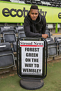 Forest Green Rovers Keanu Marsh-Brown(7) poses next to newspaper billboard during the Forest Green Rovers Press Conference and Training session at the New Lawn, Forest Green, United Kingdom on 12 May 2017. Photo by Shane Healey.
