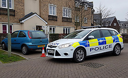© Licensed to London News Pictures. 05/01/2019. Farnham, UK. British Transport Police officers outside a property in Farnham, Surrey, where two people were arrested this morning in connection with the stabbing of a man on a train near Horsley Station in Surrey yesterday. A murder investigation was launched after the man was attacked while on board the 12. 58pm train service travelling between Guildford and London Waterloo. Photo credit: London News Pictures.