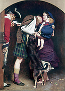The Order of Release 1746. Oil on canvas (1852-1853): This shows a barefoot Scottish woman, with child in arms, bringing an official document releasing her wounded husband from prison after the failure of the Second Jacobite Rising (1745) in support of Charles Edward Stuart, the Young Pretender (Bonnie Prince Charlie).    John Everett Millais (1829-1896) English artist. Founder member of Pre-Raphaelite Brotherhood.  Oil on canvas.