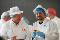 Scotch Pie Championships_Dunfermline Blcc_20-11-2019<br /> <br /> Outlander star, Scott Kyle gets some tips on a good pie from Ian McGhee<br /> <br /> (c) David Wardle | Edinburgh Elite media
