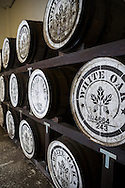 Japanese whisky barrels at the White Oak Distillery, the city of Akashi, Hyogo prefecture, Japan.