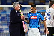 Head coach of Napoli Carlo Ancelotti (L) greets Allan (R) at the end of the UEFA Champions League, Group E football match between SSC Napoli and KRC Genk on December 10, 2019 at Stadio San Paolo in Naples, Italy - Photo Federico Proietti / ProSportsImages / DPPI