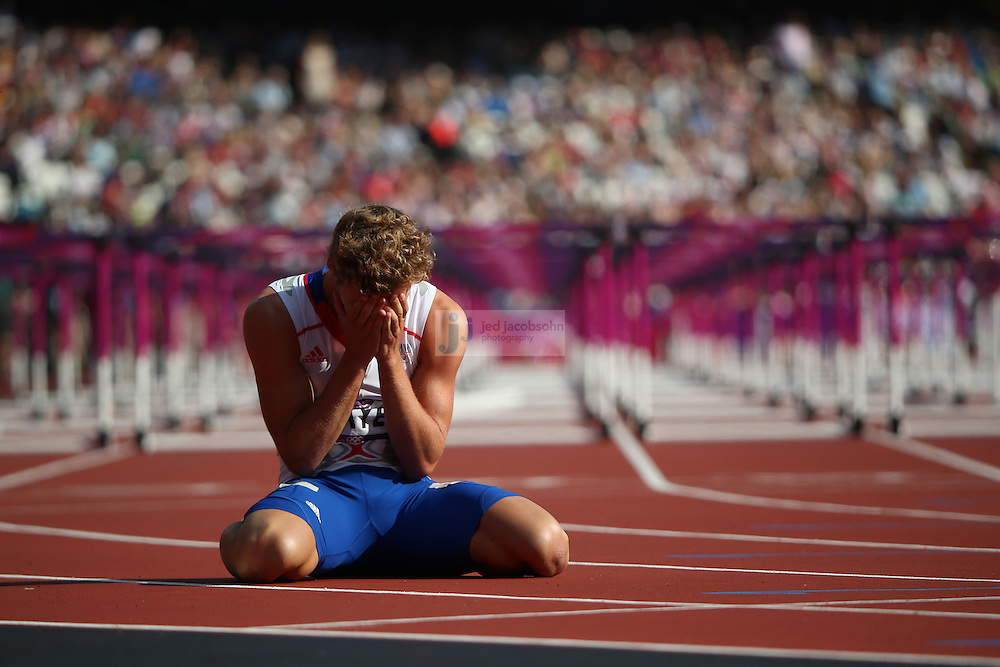 Kevin Mayer of France looks on after finishing the 110m hurdle portion of the decathlon during track and field at the Olympic Stadium during day 13 of the London Olympic Games in London, England, United Kingdom on August 9, 2012..(Jed Jacobsohn/for The New York Times)..