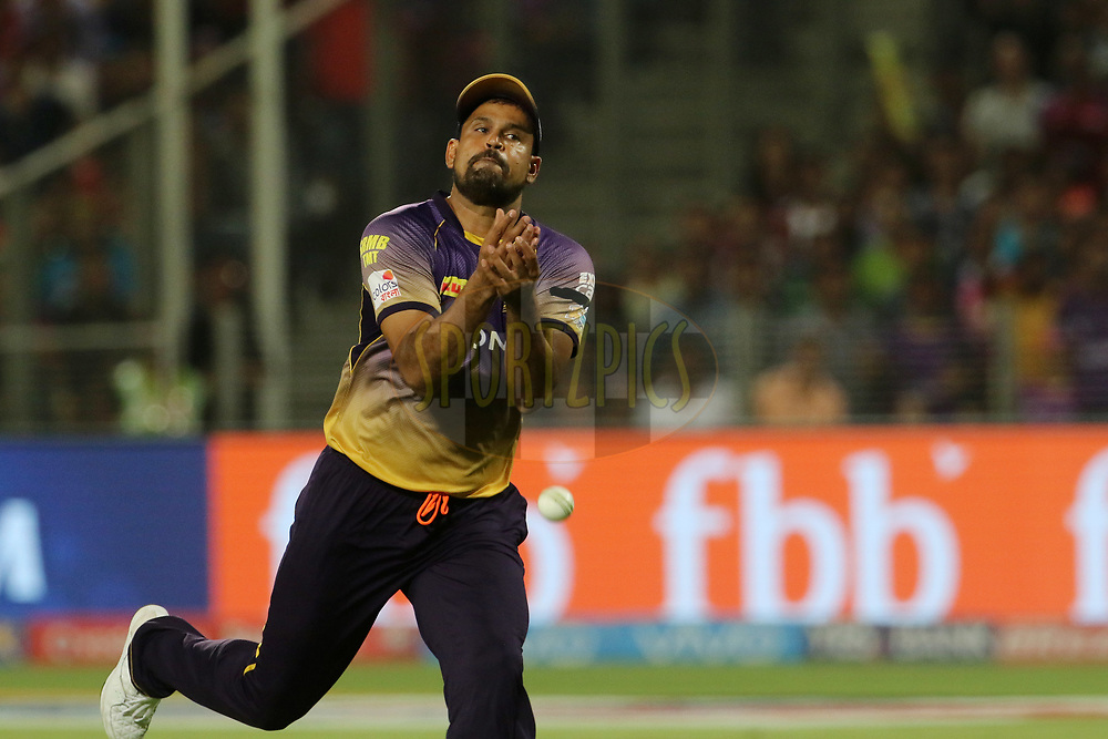 Yusuf Pathan of the Kolkata Knight Riders drops the catch of Rahul Ajay Tripathi of Rising Pune Supergiant during match 30 of the Vivo 2017 Indian Premier League between the Rising Pune Supergiants and the Kolkata Knight Riders  held at the MCA Pune International Cricket Stadium in Pune, India on the 26th April 2017<br /> <br /> Photo by Vipin Pawar- IPL - Sportzpics